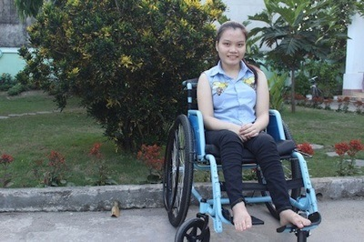 Vo Thi Thuy Hien, of Vietnam, dropped out of school in second grade due to numerous treatments and surgeries for a tumor on her spine. She eventually lost mobility. Now 19-years-old, Hien's dream is to pursue an education in IT or multimedia design and gain a life of independence.