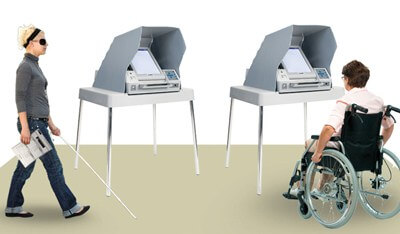 In this illustrated picture voters with disability cast their vote at voting booths.