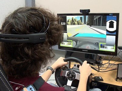 A 16-year-old with Asperger syndrome using the driving simulator. Picture Credit: Michael Todd, Vanderbilt University