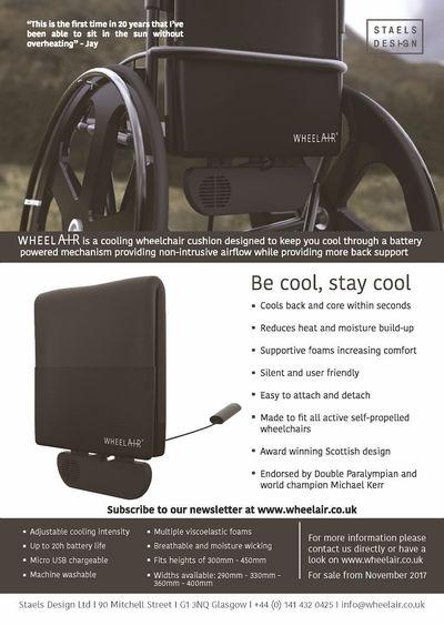 Information sheet regarding the wheelAIR cooling wheelchair cushion