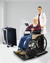 Fully portable wheelchair scale features roll on ramp and folds for easy storage.