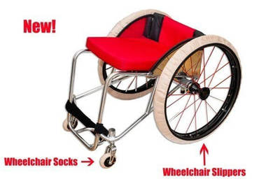 Wheelchair Fitted with Socks and Slippers.