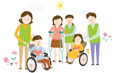 Clip-art image of a male and female each in a wheelchair. Another woman is using crutches. Each person has a care provider close by.