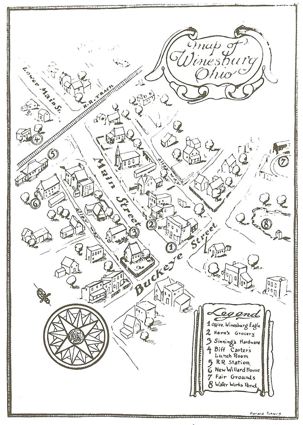 Map of the town Winesburg, Ohio from the first edition of Sherwood Anderson's book of the same name.