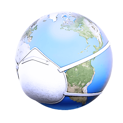 Illustration of a globe of the world wearing a breathing mask.