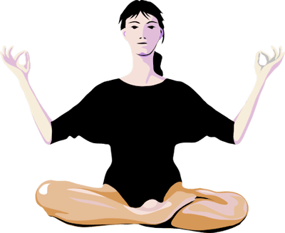 Clipart image of a person in a front facing yoga pose.